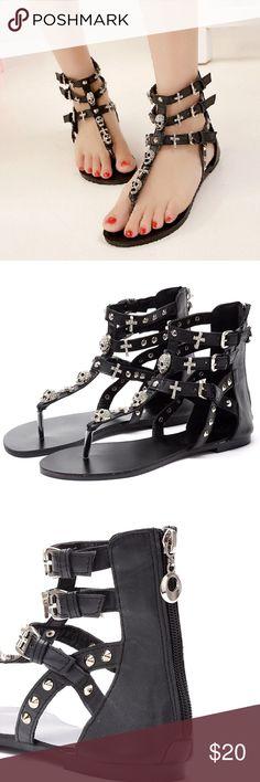 Rhinestone Bling Skull Cross Sandals 7 NWT Rhinestone skull cross  sandals SIZE: 7 CONDITION: NWT Shoes Sandals