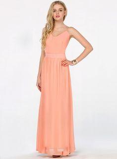 Peach V-neck Spaghetti Straps Backless Maxi Chiffon Dress - Sheinside.com Mobile Site