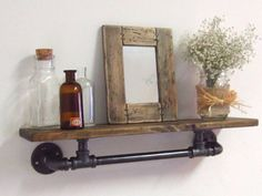 Steel Pipe Wood Wall Shelf by IndustrialHomeBazaar on Etsy, $74.00