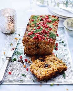 Hosting a vegetarian Christmas? This epic halloumi and pistachio nut roast is packed full of flavour and healthy helping of wow-factor. Vegetarian Christmas Dinner, Vegetarian Christmas Recipes, Veggie Christmas, Xmas Dinner, Xmas Food, Christmas Parties, Christmas Treats, Savoury Recipes, Vegetarian Nut Roast Recipes