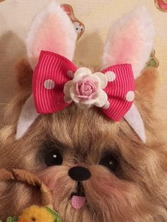 Easter Yorkie Ornament  with bunny ears!