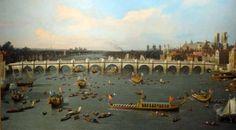 Canaletto, Londres, le Pont de Westminster vu du nord, avec le défilé du lord(maire, le 29 octobre 1746 1746-1747 - New Haven, Yale center fort British Art