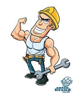 Cartoon Character Plumber Or Mechanic By Krisdog A