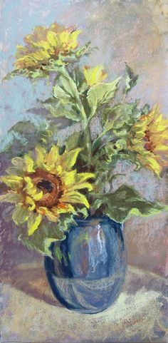Sunflowers in Blue Vase - pastel painting 24x12