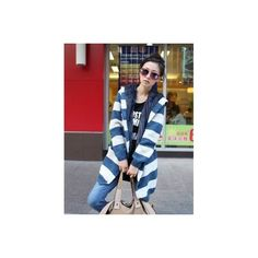 Buy Single Breasted Blue With Beige Stripe Knitting Wool Blends Women... via Polyvore