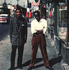 John Lee Hooker | Little Sonny, left, and John Lee Hooker are pictured in front of Joe's Record Shop at 3530 Hastings Street in Detroit in 1959.