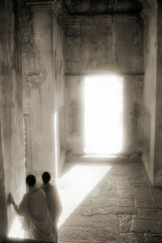 John McDermott, Monks in a Sunlit Doorway, Angkor Wat, Cambodia, 2000