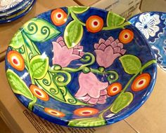 Serving bowl pained by Mary at Damariscotta Pottery