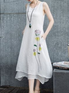 Yifeiduona White Printed Floral Two Piece Casual Midi Dress Simple Dresses, Cute Dresses, Beautiful Dresses, Casual Dresses, Fashion Dresses, Summer Dresses, Kurta Designs, Linen Dresses, Midi Dresses
