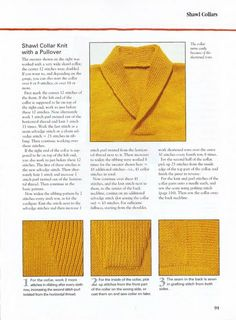 SOLO PUNTOS: Tricot cuello smoking Collars, Knit Crochet, Men Sweater, Pullover, Knitting, Books, Sweaters, How To Make, Stitching