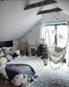 Master bedroom, love the swinging chair