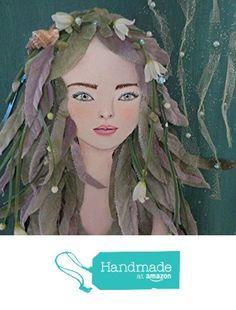 Mermaid Artwork, Original Ocean Painting, Mixed Media Beach Collage, 16X20 inches from Midori's My Muse http://www.amazon.com/dp/B0161NENIE/ref=hnd_sw_r_pi_dp_nBrgwb0EP3AZQ #handmadeatamazon