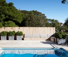 New pool fence Outdoor Areas, Outdoor Rooms, Outdoor Living, Outdoor Decor, Outdoor Furniture, Small Courtyard Gardens, Small Courtyards, Wall Seating, Built In Seating
