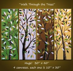 Original Abstract Landscape Trees Paintings  30 x by AmyGiacomelli, $320.00