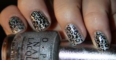 Nail Art – Silver and Black Leopard Stamping