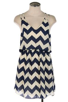 sincerely sweet Dress - Summer Recreation Double Strap Chevron Print Dress in Navy Blue Cute Dresses, Vintage Dresses, Cute Outfits, Summer Dresses, Summer Outfits, Maxi Dresses, Chevron Print Dresses, Nautical Dress, Stitch Fix Outfits