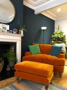 Ambergate Ideas Living room in F&B Hague Blue Farrow And Ball Living Room, Dark Living Rooms, Living Room Orange, New Living Room, Living Room Sofa, Home And Living, Blue Living Room Walls, Living Room Color Schemes, Living Room Designs