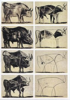 This is another piece by Picasso which reminded me of cave art like the buffalo's they paint just from memory. Picasso bull reduced from representation to geometry to the simplest of lines. Pablo Picasso, Toro Picasso, Kunst Picasso, Picasso Drawing, Picasso Art, Painting & Drawing, Picasso Sketches, Picasso Paintings, Art Postal