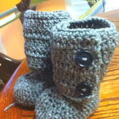 Crochet cable knit booties