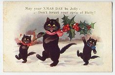 BLACK CATS IN SNOW HOLLY CHRISTMAS INTER-ART OLD POSTCARD 1926