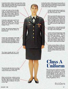 Army Class A uniform.