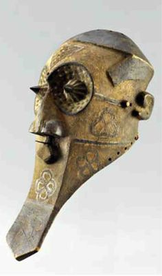 Africa | Mask from the Kuba people of DR Congo | Wood and pigment | ca. prior to 1975