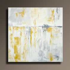 ORIGINAL ABSTRACT PAINTING 36 Yellow Gray Painting on by itarts