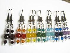 7 Chakra Earrings SET BRONZE Chakra A Day by Abundantearthworks, $68.36