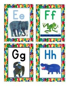 Eric carle inspired Word Wall CardsMatches my Alphabet