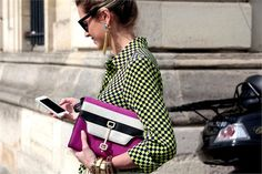 Checkered print #shirt & Striped ColorBlock #clutch Street Style at Paris Haute Coutur Fall Winter 2013 #fall2013 #pfw