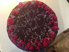 chocolate rose and raspberry birthday cake - treacle&co