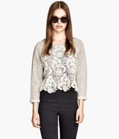 Short Cream Lace Sweatshirt, long sleeved, Art.No.52-3145, $10 | H&M < I like how they styled it.