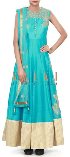 Blue anarkali suit featuring in silk. Its embellished in zari embroidery at yoke and side kali along with lurex hem line. Matched with blue lycr Indian Clothes, Indian Dresses, Indian Outfits, Indie, Bollywood, Drape Gowns, Anarkali Suits, Woman Clothing, Indian Wear