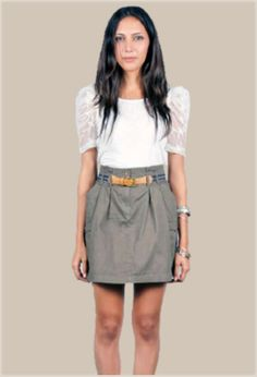 Olive Green Cargo Skirt with Belt - $21