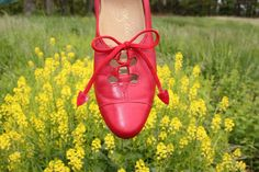 Vintage 1960s Shoes Red Leather Unique Lace Up Design by Johansen Ette Cute Granny Style . Womens Size 6 Narrow