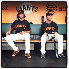 @jparker001 and Jackson Williams sit in the dugout during batting practice at #attpark. Photo by @punkpoint