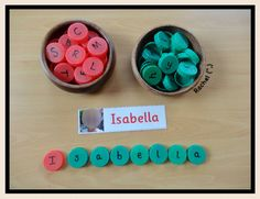 "Name recognition/writing. Bottle top names from Rachel ("",)"