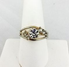 Vtg 1950s Solitaire Clear RS w/Accents Gold Tone Plated Ladies Adj Ring Size 8.5 #NotSigned #SolitairewithAccents