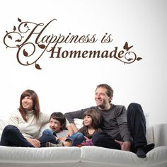 "Style and Apply Happiness is Homemade Wall Decal Size: 22"" H x 59"" W, Color: Yellow"