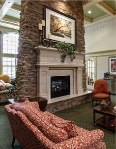 An Old World Stoneworks Fremont fireplace mantel with #8 ...