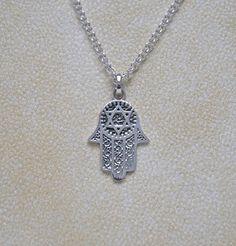 Silver hamsa necklace  hand of fatima  hamsa by crashandduchess, $35.00