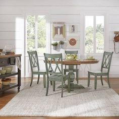 Weston Home 5 pc 60 inch Oval Dining Set, with Dark Sea Green Table and Dark Sea Green Cross Back Chairs