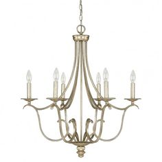 "bailey 6-light chandelier in winter gold | 27.5""DIA x 30.5""H | capital lighting fixture co."