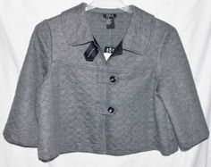 RQT PETITE Size Large Gray Cropped Jacket NWT 3/4 Sleeves New Tags Blazer Coat