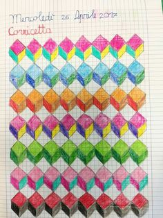 mis actividades Graph Paper Drawings, Graph Paper Art, Doodle Drawings, Easy Drawings, Doodle Art, Loom Patterns, Quilt Patterns, Crayon Book, Tessellation Patterns