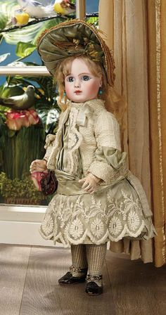 French Bisque Bebe, Figure A, by Jules Steiner in Superb Couturier Costume 4500/6500