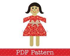 Paper Chain Doll Applique Template DIY Children by AngelLeaDesigns, $2.30
