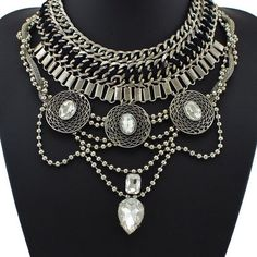 Chain Link Collar Statement Necklace with Crystal Pendant