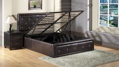 Storage Bed FAUX LEATHER Gas Lift Up  with crystal in Black and White.