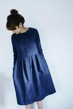 Denim Dress - Indigo Dress - Double Collar Dress - Full Gathered Skirt Dress - Handmade by OffOn Muslim Fashion, Hijab Fashion, Fashion Dresses, Skirt Outfits, Dress Skirt, Indigo Dress, Fade Out, Double Denim, Maxi Dresses